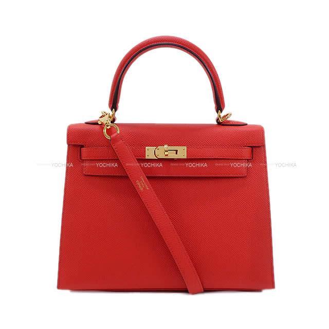 【夏のボーナスで☆】HERMES エルメス ハンドバッグ ケリー25 外縫い ルージュドクー エプソン ゴールド金具 新品同様【中古】 ([Pre-loved]HERMES handbag Kelly 25 Sellier Rouge de coeur Epsom GHW[Near mint][Authentic])【あす楽対応】#よちか