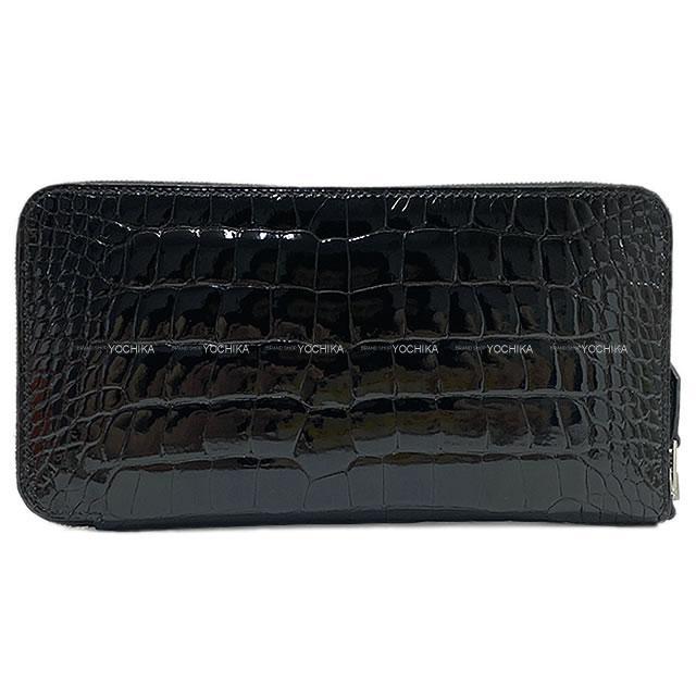 【夏のボーナスで☆】HERMES エルメス 長財布 アザップロング 黒(ブラック) クロコダイル アリゲーター シルバー金具 展示新品 (HERMES Azapp Long Wallet Noir(Black) Crocodile Alligator SHW[Exhibition new][Authentic])【あす楽対応】#よちか