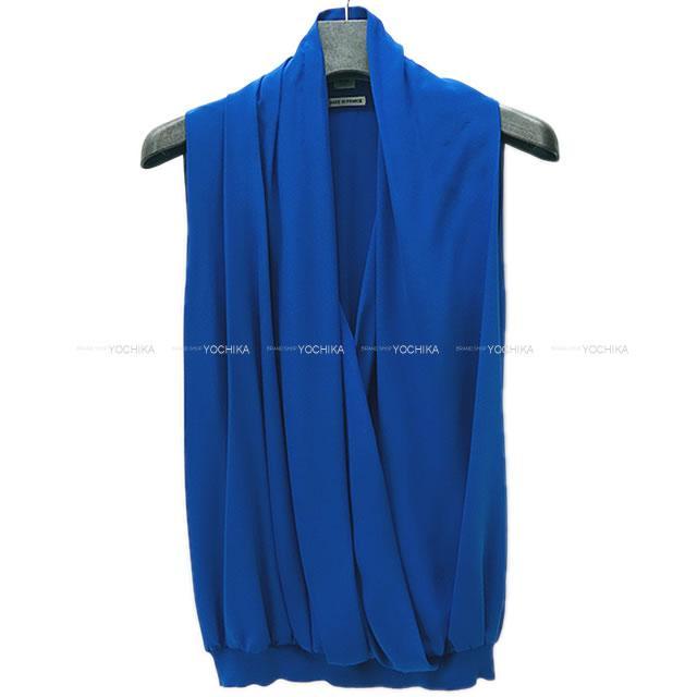 超可爱の 【ご褒美に☆ Silk/Cotton[Never】HERMES ノースリーブ エルメス レディース ノースリーブ Cobalt ドレープ ニット トップス #34 ブルーコバルト シルク/コットン 新品未使用 (HERMES Women's Sleeveless Drape Knit Tops #34 Blue Cobalt Silk/Cotton[Never used][Authentic])【】#よちか, 臼田町:de803288 --- delipanzapatoca.com