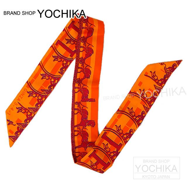 """Unused brand new HERMES Hermes Ginza store 10th anniversary Limited Edition with twirly """"24 Faubourg Seconede"""" 100% Orange silk (Silk HERMES Ginza 10th anniversary limited Twilly """"24 Faubourg Seconede"""" Orange 100%) # I'm Chika"""