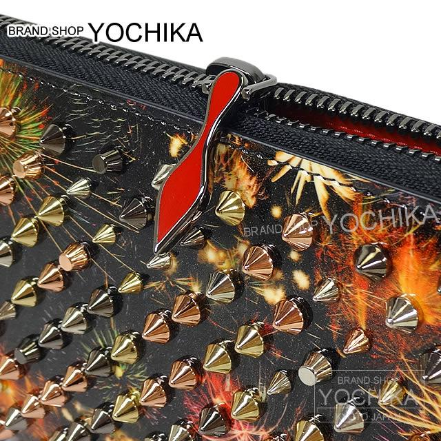 8c6d3187271 Autumn of 2016 winter Christian Louboutin Christian ルブタンマルチスタッズラウンドジップ long  wallet panettone spikes black X ...