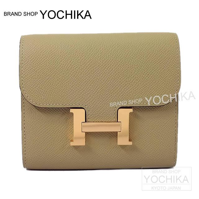 09b7981c1eb88 HERMES Hermes wallet Constance compact trench X natural sable Epson Rose  gold metal fittings new article