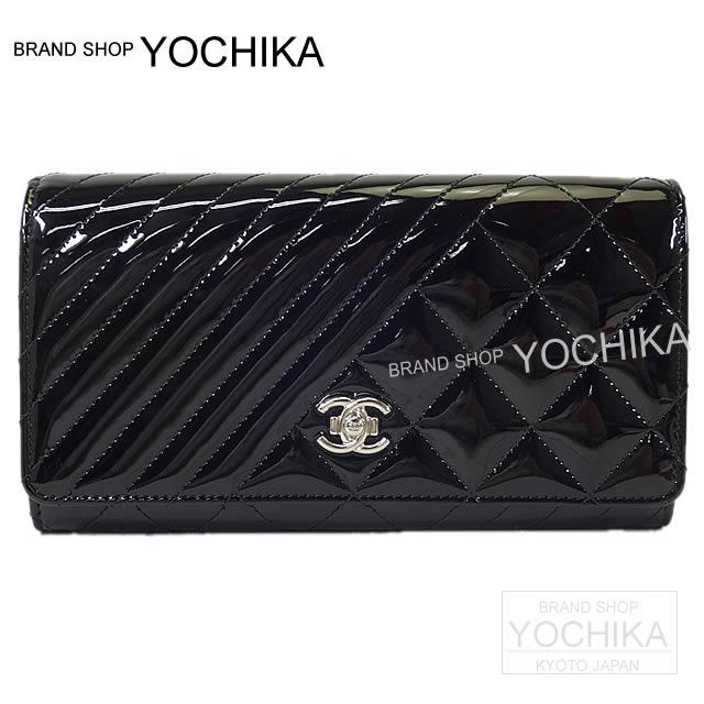 7a4fd9995447 CHANEL Chanel Small reshuffling here boy flap long wallet black patent  enamel leather silver metal fittings A80464 new article