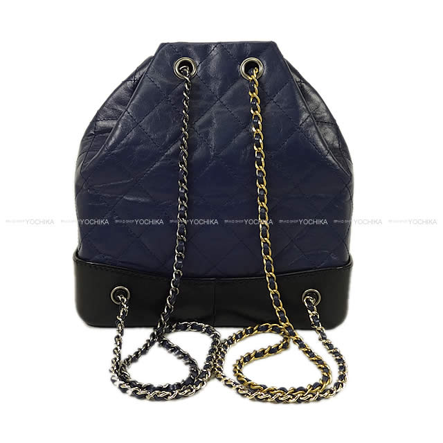 0cb3e3d4e975 ... CHANEL Chanel Gabriel do matelasse backpack navy X black X  レッドエイジドカーフスキン A94485 new ...