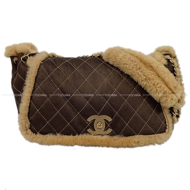 As well as CHANEL Chanel mouton matelasse chain shoulder bag bronze brown X  beige mouton X suede mat gold metal fittings A25783 new article  used  177576572ac0f