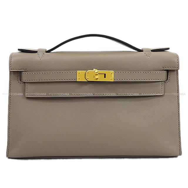 4e15c5330cc95 ... low price hermes hermes handbag pochette kelly grease asphalt swift gold  metal fittings new article 19eab