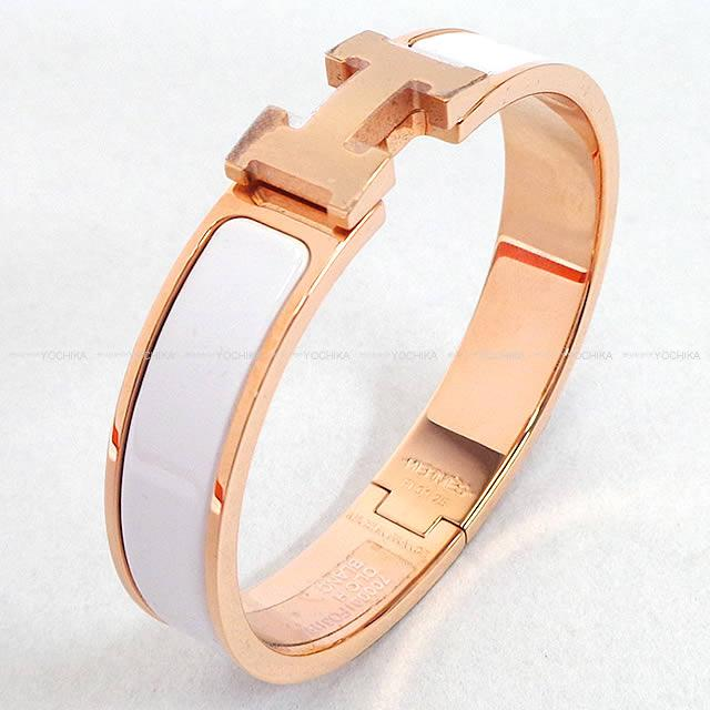Hermes Bracelet Bangle Click Ashe Pm White Rose Gold Play Ted New Article Clic H Blanc