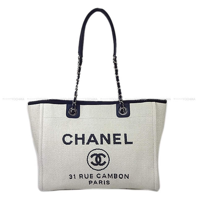 9353eb9ca28e Spring of 2017 summer CHANEL Chanel chain tote bag (M) Deauville navy X off  ...