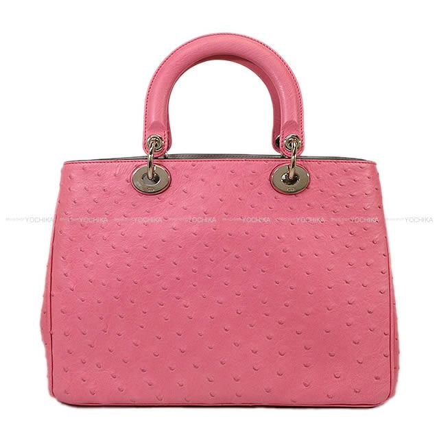 As Well Dior 2way Shoulder Bag ディオリッシモラージ Pink X Gray Ostrich 09ma0142 New Article