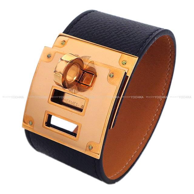 Hermes Bracelet Bangle Kelly Dog Black Epson Rose Gold Metal Ings New Article Mint Condition