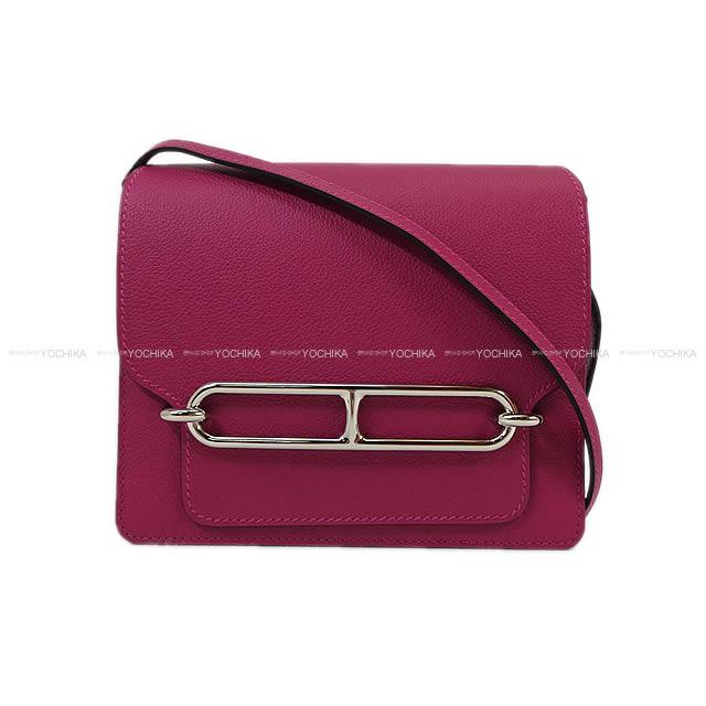 b18bb7997d HERMES Hermes shoulder bag case low squirrel (Rooley) mini-Rose purple ever  color silver metal fittings new article