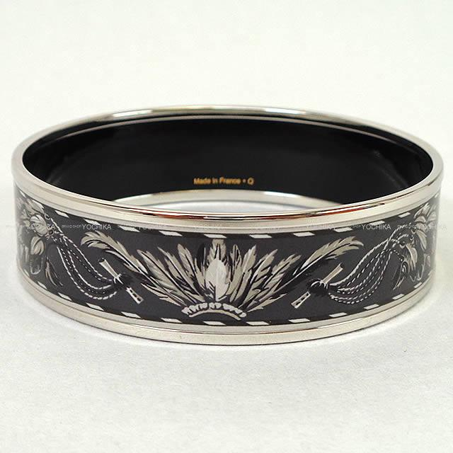 Hermes Enamel Bracelet Bangle Large Brazil Gray X White Silver Metal Ings New Article