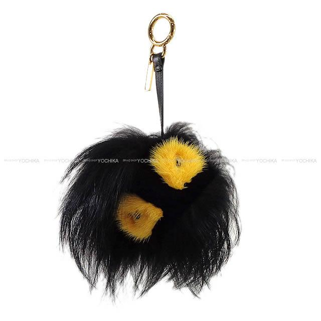 Fendi Fur Monster Bag Bugs Charm Key Ring Pumchy Black X Yellow 7ar390 New Article Mint Condition