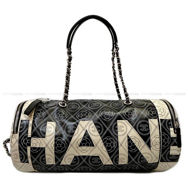 42f52f12f3b0 Latest CHANEL Chanel camellia & here mark logo bowling chain bag black X  beige print canvas X calfskin silver metal fittings A57428 is new in the  summer in ...