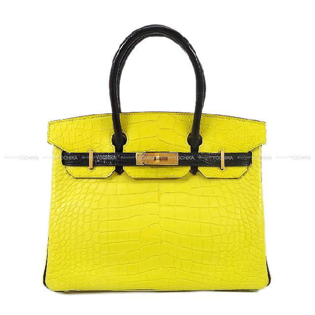 HERMES Hermes handbag Birkin 30 special order lime X black crocodile  alligator mat mat gold metal fittings are new 610dfdcc6f4df