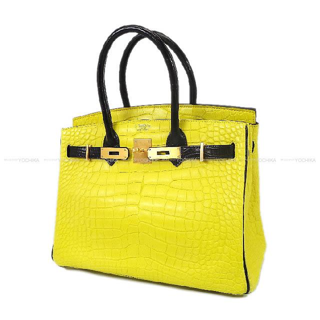 HERMES Hermes handbag Birkin 30 special order lime X black crocodile  alligator mat mat gold metal fittings new article (HERMES handbags Birkin 30  Personal ... 177ad2f8748b6