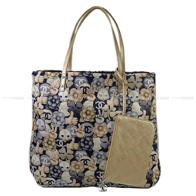 49f003d174d9 CHANEL Chanel Small shopping tote bag cat peace camellia pattern navy-blue  X gray X gold print fabric X nylon silver metal fittings A69928 is new in  winter ...