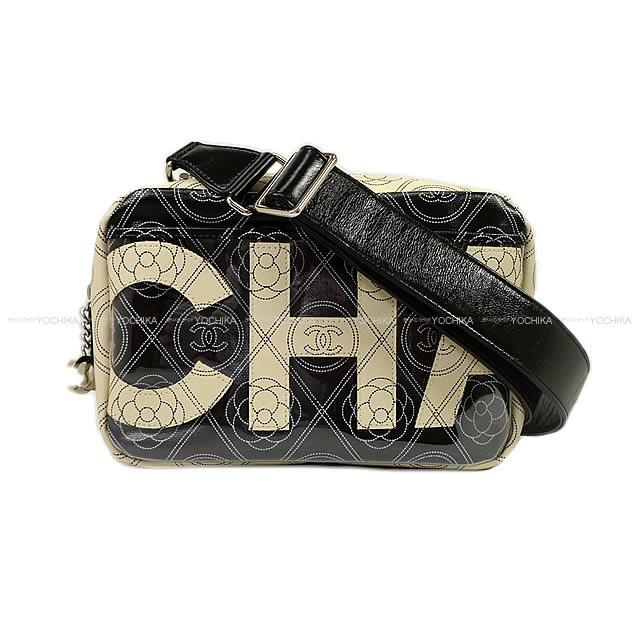 28faea760f4e Latest CHANEL Chanel camellia   here mark logo clutch shoulder bag black X  beige print canvas X calfskin silver metal fittings A57273 is new in the  summer ...