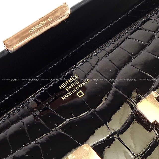 9be6c408b680 HERMES Hermes long wallet Constance long black crocodile alligator Rose  gold metal fittings new article (HERMES Constance Long Wallet Black(Noir)  Crocodile ...