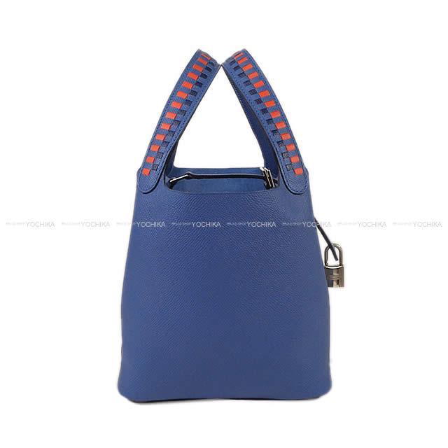HERMES エルメスハンドバッグピコタンロックトレサージュ do キュイール 18 PM blue Brighton X カプシーヌ X  ブルーサフィールエプソンシルバー metal fittings are ... f63a6a2163fd5
