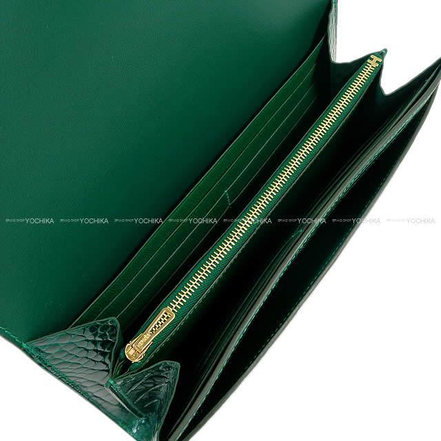 1a8addcf2d HERMES Hermes long wallet Constance long veil emerald crocodile alligator  gold metal fittings new article-free (HERMES Constance Long Wallet Vert  Emeraude ...