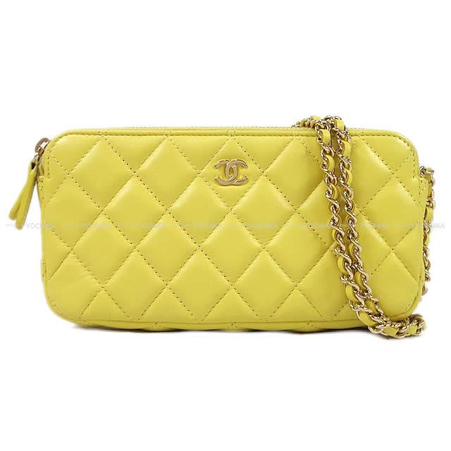 7b7471a84893e5 As well as CHANEL Chanel matelasse zip chain wallet clutch pochette shoulder  bag yellow lambskin A82527 champagne gold metal fittings new article [used]
