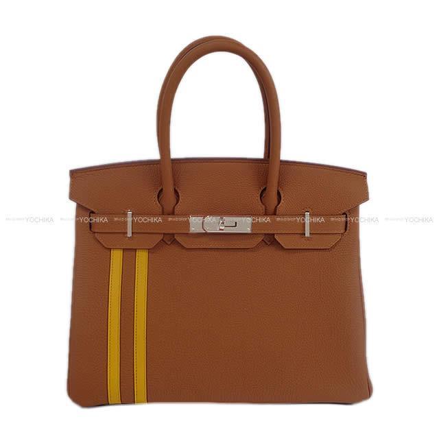 【値下げ!】HERMES エルメス ハンドバッグ バーキン30 オフィサー(オフィシエ) ゴールド/ジョーヌアンブル トゴ/スイフト シルバー金具 新品 (HERMES Handbags Birkin 30 Officier Gold / Jaune ambre Togo/Swift SHW[Brand New][Authentic])