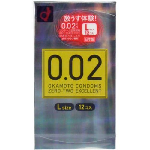 【×12個セット送料無料】オカモト ゼロゼロツーエクセレント 薄さ均一 002EX Lサイズ 12個入