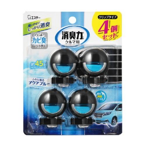 【送料込・まとめ買い×22個セット】エステー クルマの消臭力 クリップタイプ 消臭芳香剤 車用 アクアブルー 3.2mL×4個
