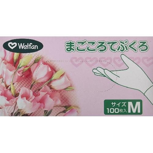 【×20個セット送料無料】ウェルファン まごころてぶくろ Powder(粉付) Mサイズ 100枚入/4967991437689/シンプルなプラスティックグローブ