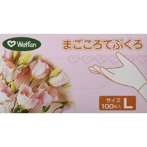 【×20個セット送料無料】ウェルファン まごころてぶくろ Powder(粉付) Lサイズ 100枚入/4967991437696/シンプルなプラスティックグローブ
