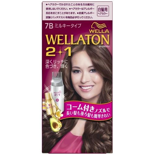 【送料無料・まとめ買い×4個セット】ウエラ (WELLA) ウエラトーン ツープラスワン (2+1) ミルキー EX7B 白髪用ヘアカラー