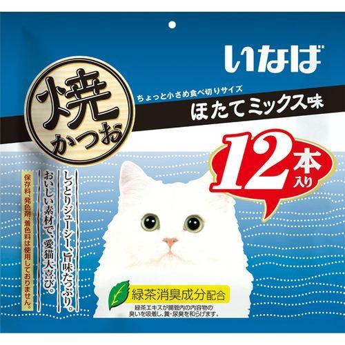 【送料込・まとめ買い×12個セット】いなば 焼かつお ほたてミックス味(12本入)
