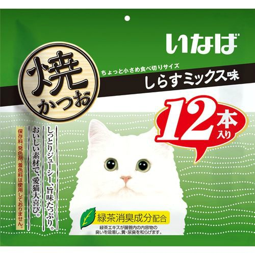 【送料込・まとめ買い×12個セット】いなば 焼かつお しらすミックス味(12本入)