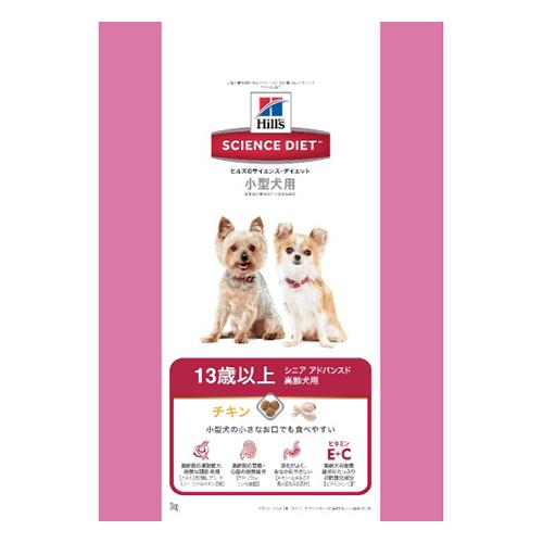 【送料込・まとめ買い×4個セット】ヒルズ サイエンス・ダイエット シニア アドバンスド 小型犬 高齢犬用 3kg