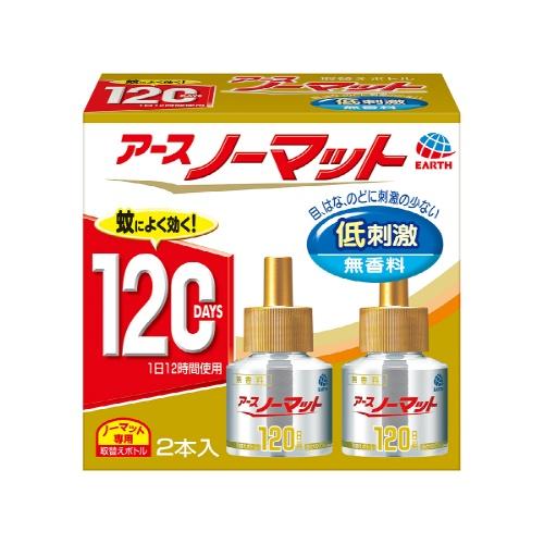 【送料込・まとめ買い×30個セット】アース製薬 ノーマット 取替えボトル 120日用 低刺激 無香料 2本入