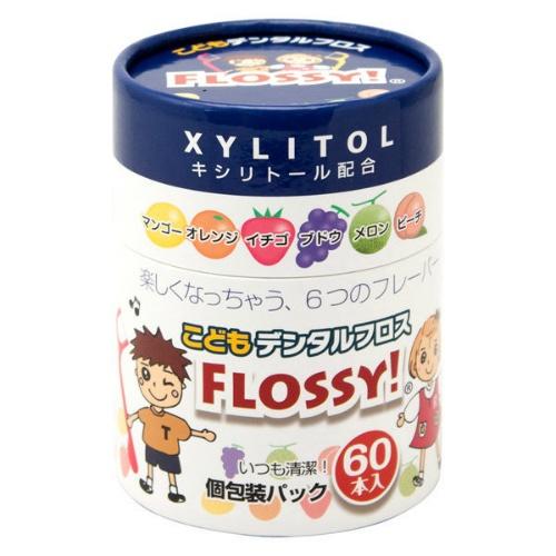 【送料込・まとめ買い×96個セット】こどもデンタルフロス FLOSSY! 60本入