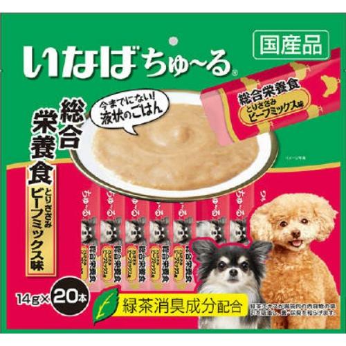 【送料込・まとめ買い×16個セット】いなば ちゅ~る 総合栄養食 とりささみ ビーフミックス味 14g×20本