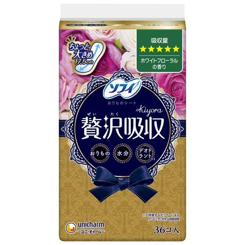 【送料込・まとめ買い×36個セット】ユニ・チャーム ソフィ Kiyora 贅沢吸収 ホワイトフローラルの香り 多い量タイプ 36コ入