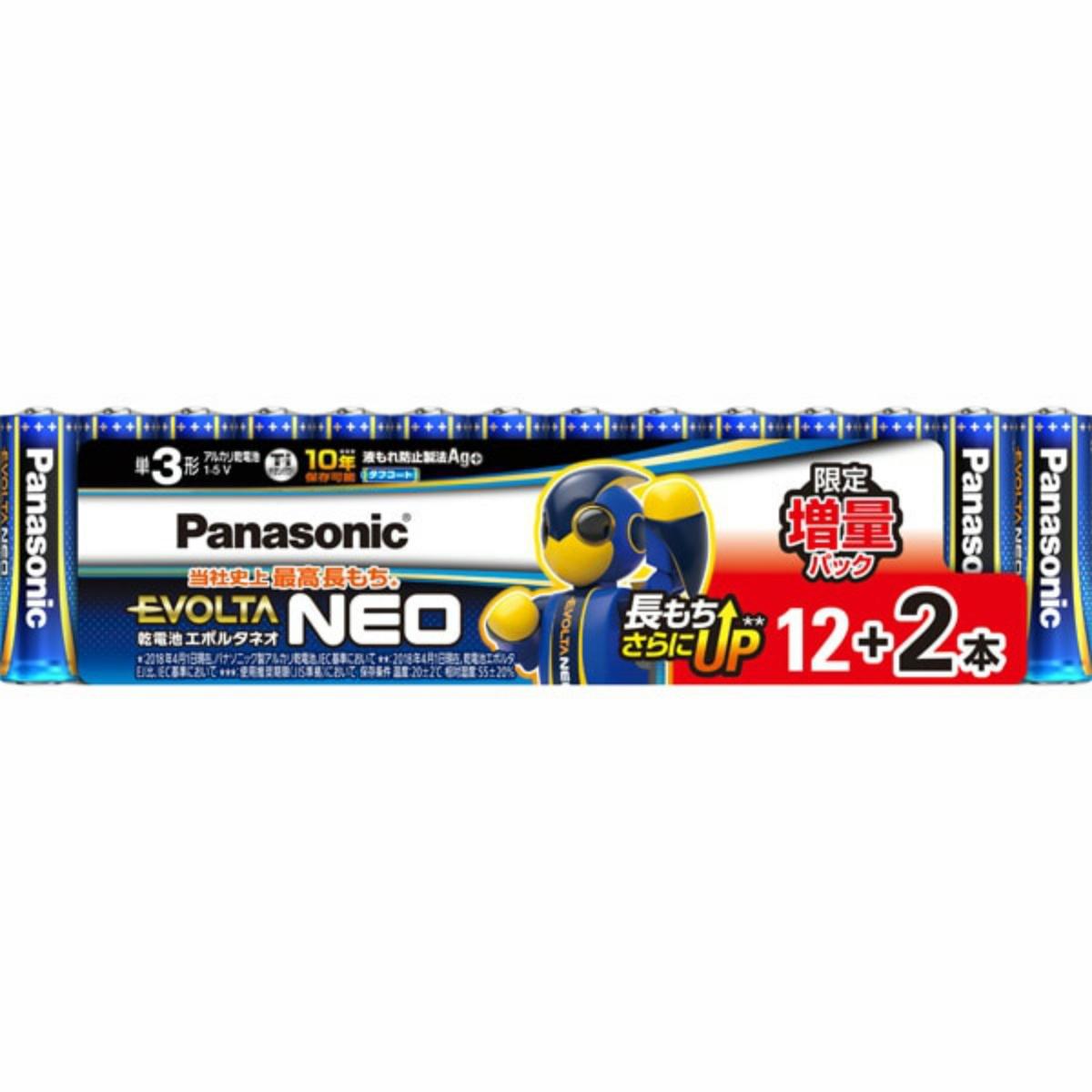 開店祝い 限定増量パック 4549980208830 パナソニック LR6NJSP エボルタネオ 期間限定特別価格 乾電池 14S 増量パック単3形12+2
