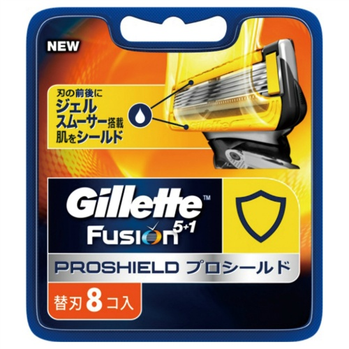 【×3個 配送おまかせ送料無料】P&G Gillette ジレット フュージョン5+1 プロシールド 替刃 8個入(髭剃り カミソリ 替え刃)ジェルスムーサー搭載。肌をシールド。(4902430651172)