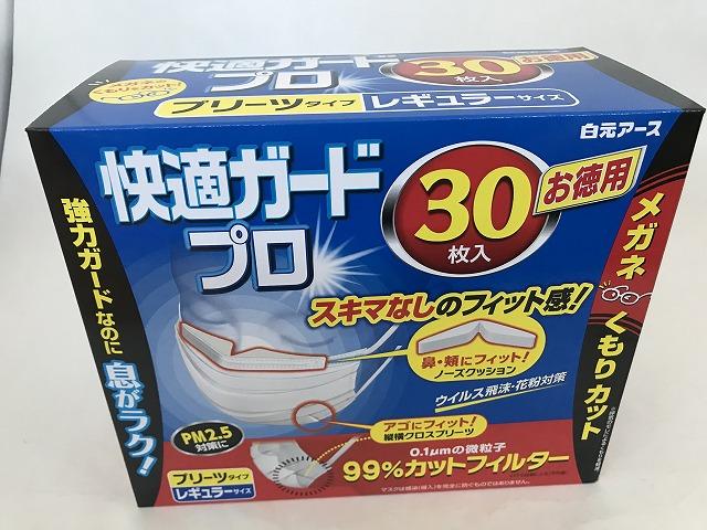 【×12個セット送料無料】白元 快適ガード プロ プリーツタイプ レギュラーサイズ 30枚入 (ノーズクッション付マスク)(4902407580238)