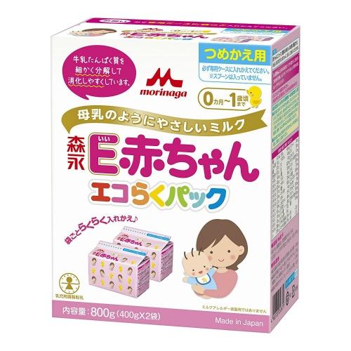【送料無料・まとめ買い×4個セット】森永乳業 E赤ちゃん エコらくパック つめかえ用 400g×2袋入