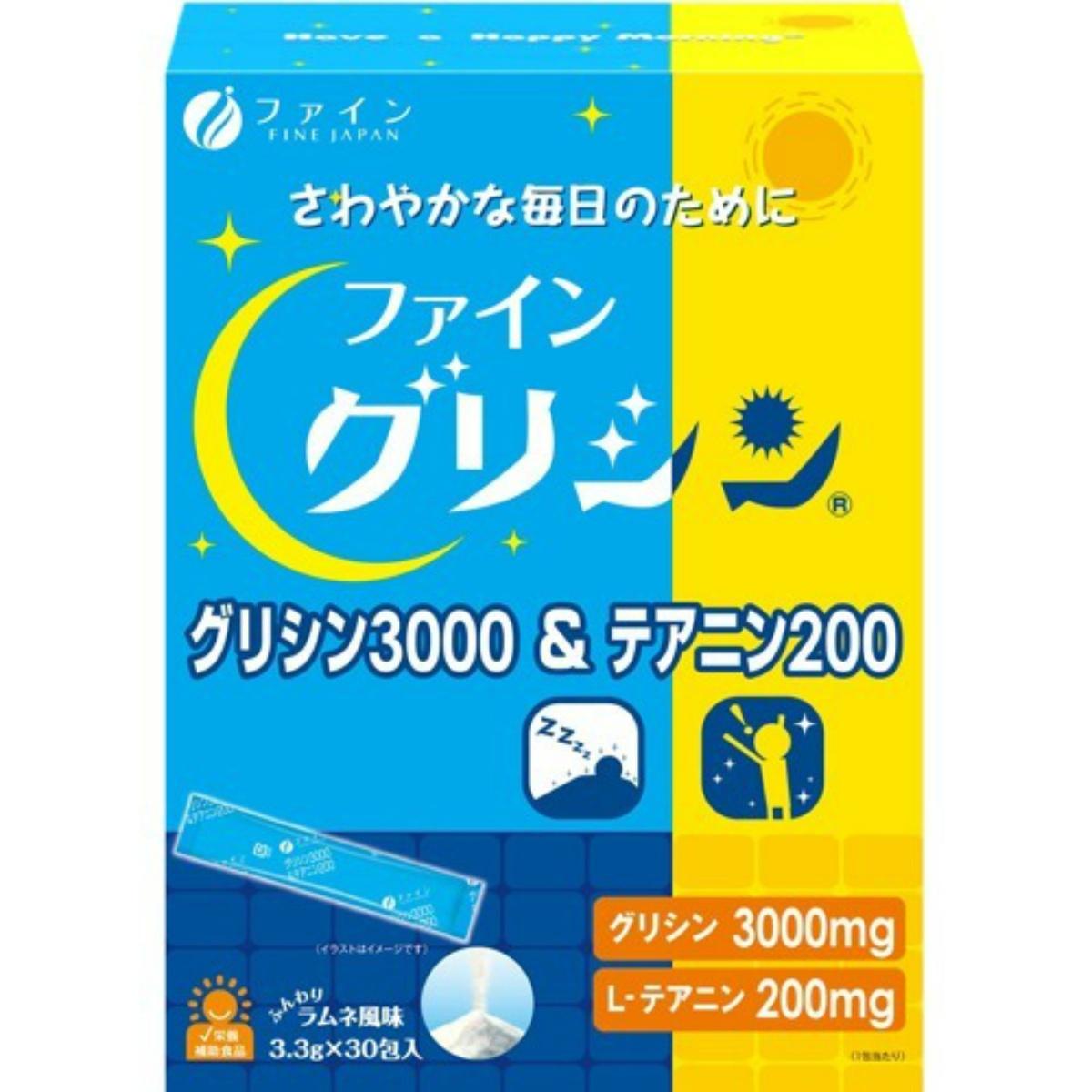 グリシン3000mg テアニン200mg配合し さわやかな毎日をサポートをします 4976652012134 配送おまかせ送料込 ファイン 特別セール品 人気 おすすめ グリシン3000 テアニンはお茶の旨味や甘味に関与するアミノ酸2種類配合 テアニン200 ラムネ風味 3.3g×30包入グリシンはゼラチンなどに多く含まれている甘みがあるアミノ酸で