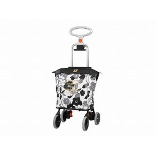 ユーバ産業 4輪タイプ・ショッピングカート アップライン花柄ブラック