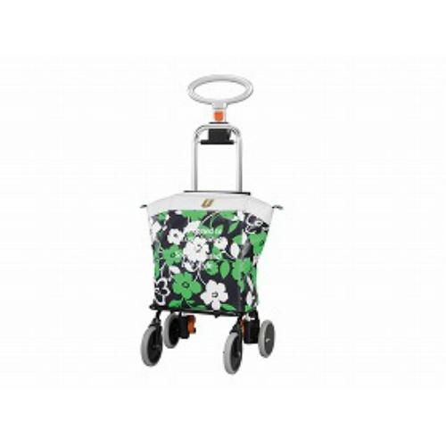 ユーバ産業 4輪タイプ・ショッピングカート アップライン花柄ネイビー