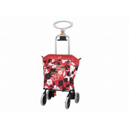 ユーバ産業 4輪タイプ・ショッピングカート アップライン花柄レッド