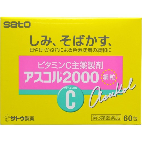 【送料無料・まとめ買い×20個セット】【第3類医薬品】サトウ製薬 アスコル2000 60包入