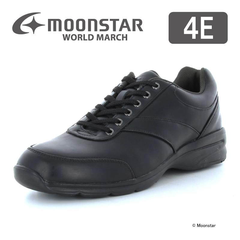 ムーンスター ワールドマーチ メンズ ウォーキング シューズ WM3016SP ブラック moonstar 幅広 4E ファスナー付