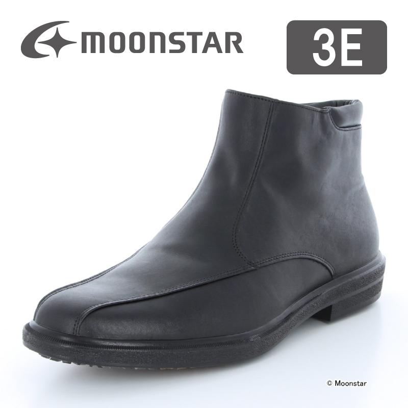 ムーンスター メンズ ブーツ SPH4014DSR ブラック moonstar 3E 防滑底 透湿防水 ファスナー付